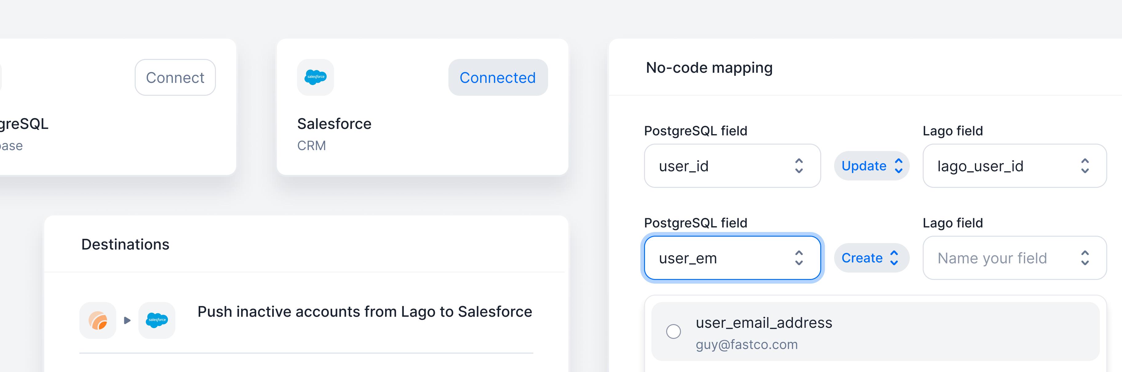 No code layer for customer data
