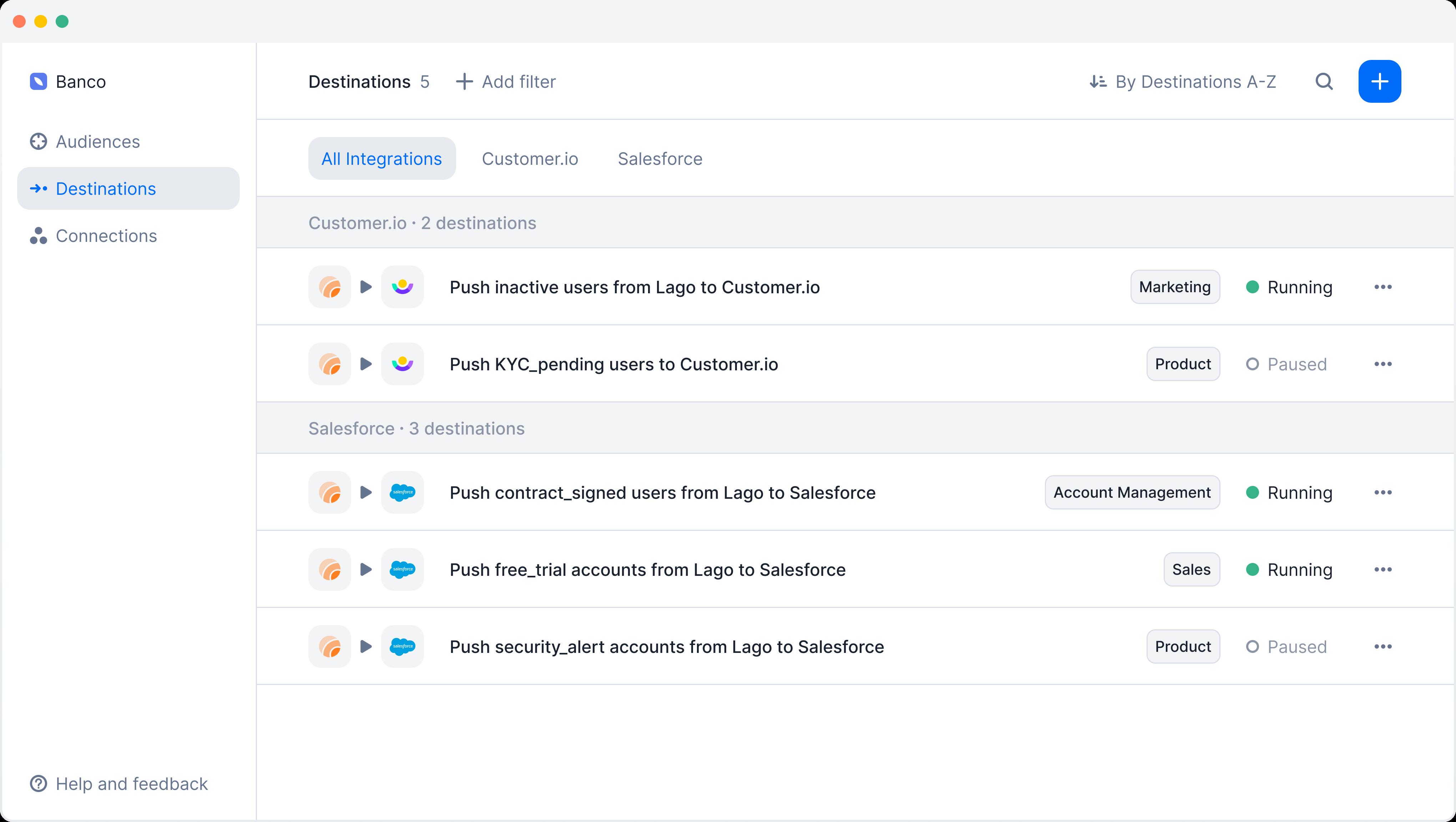 Lago application screen