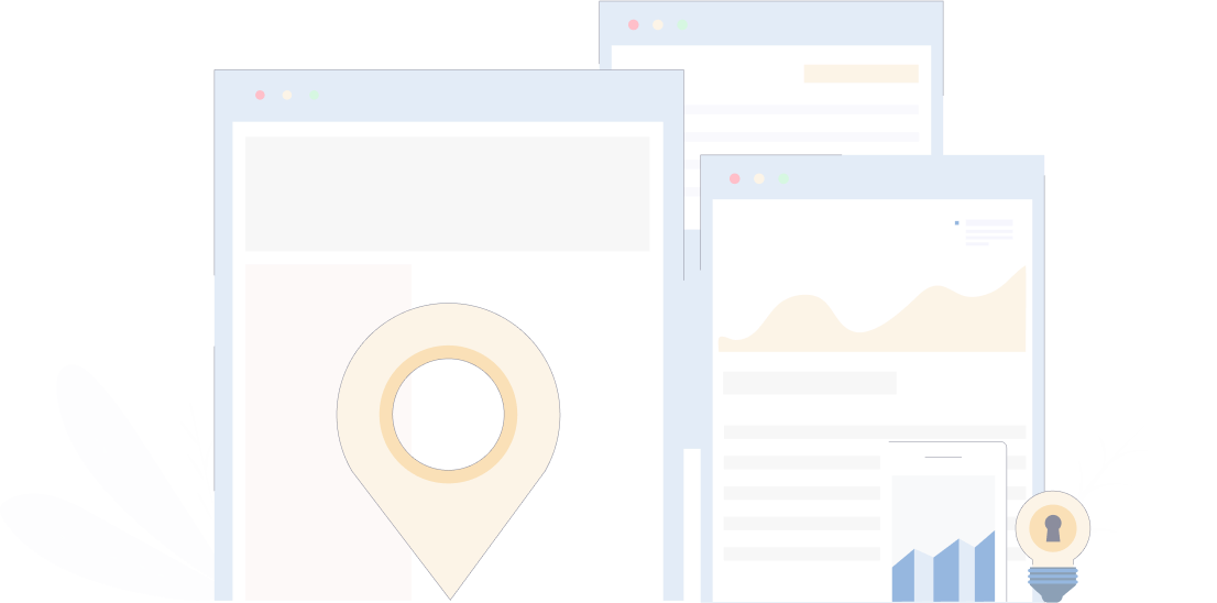 Contact form illustrative background with screens, pinpoints, lamps and dashboards.