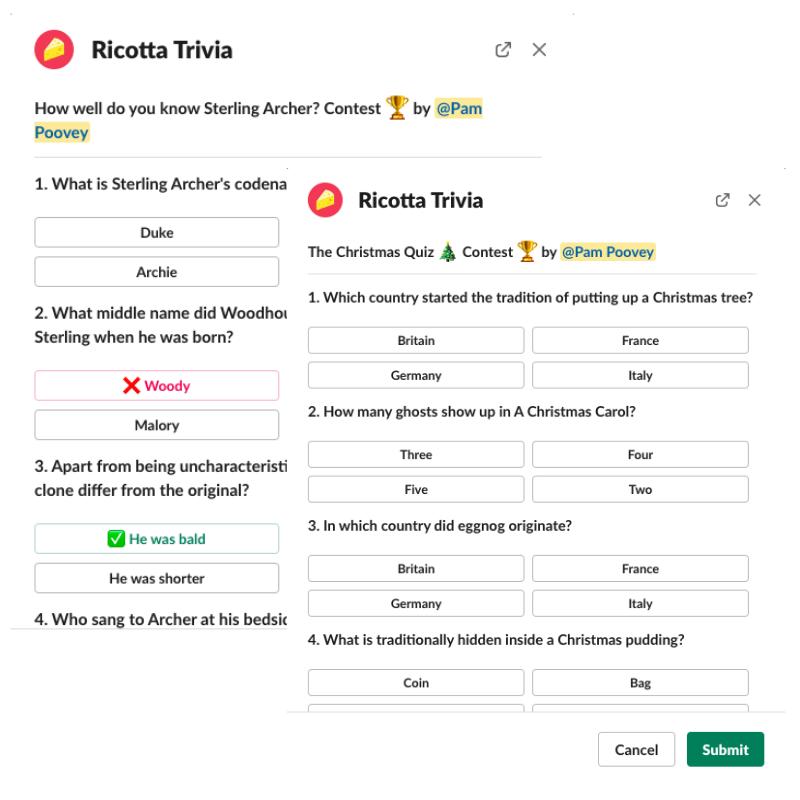 Custom quiz contests Slack