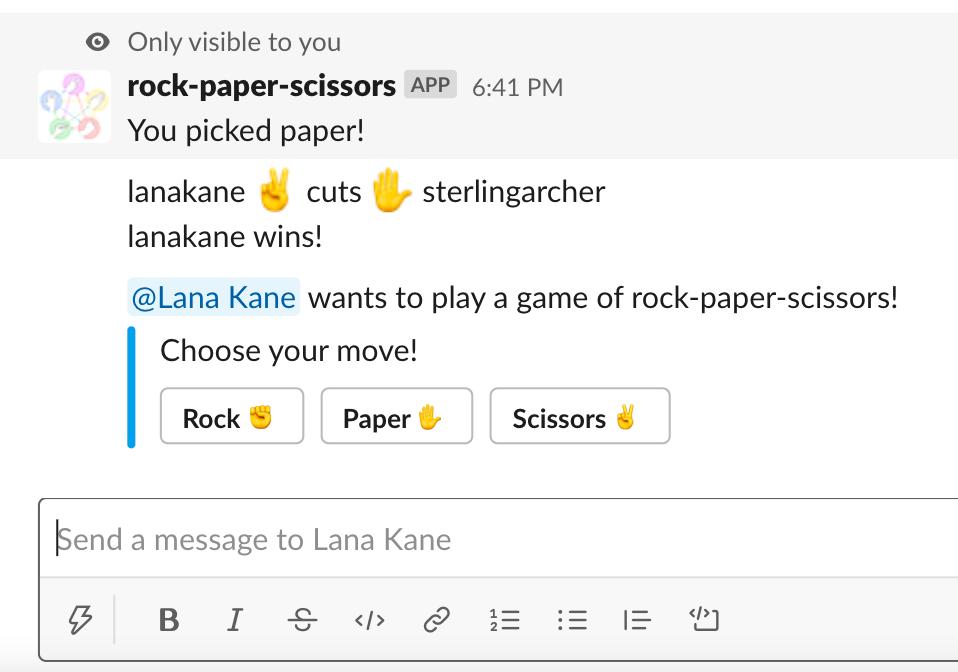 Rock Paper Scissors for Slack