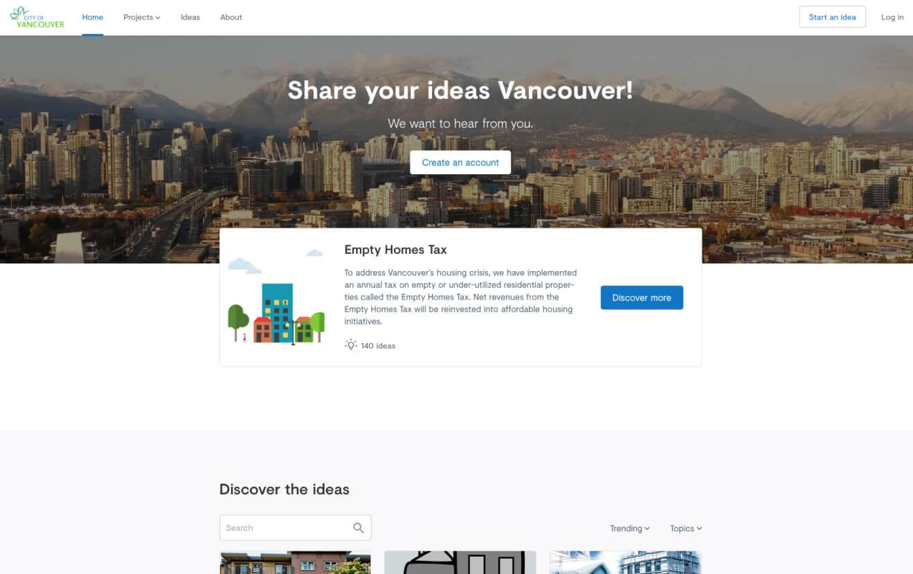 Screenshot of a citizen platform for Vancouver