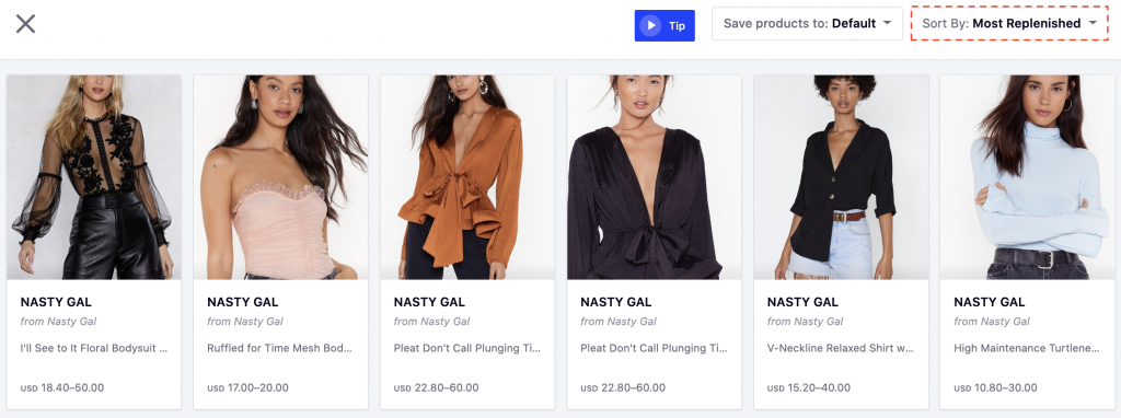 How to Strategise for Successful Market Expansion - Nasty Gal's most replenished SKUs