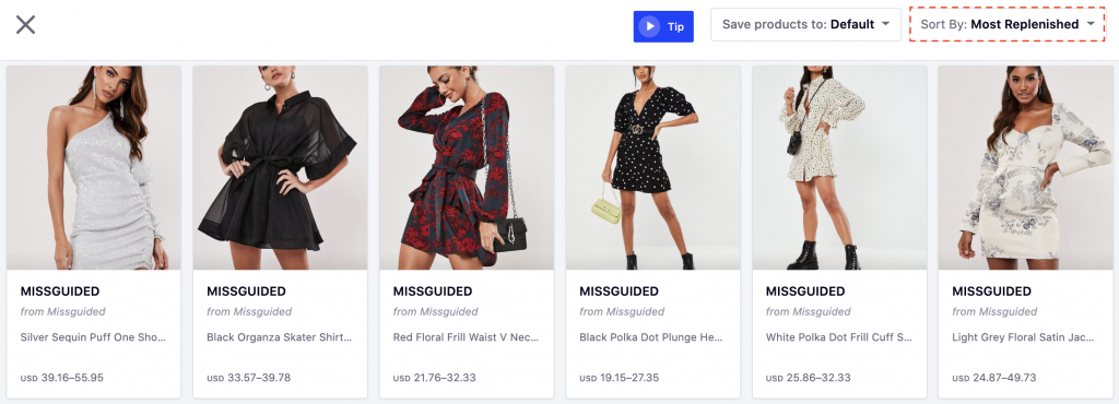 How to Strategise for Successful Market Expansion - Missguided's most replenished SKUs