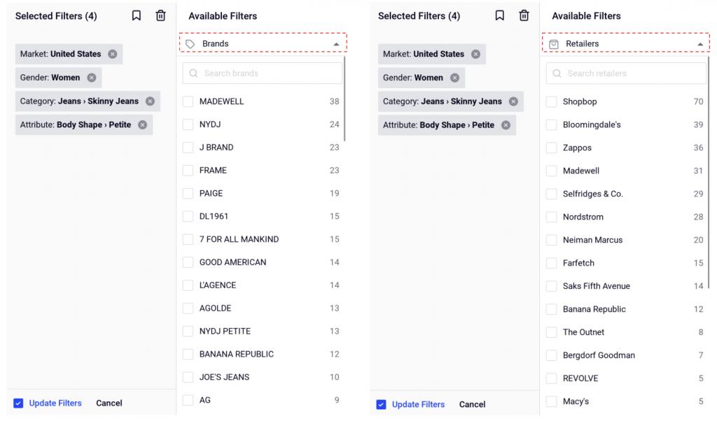 Distribution Channels: Comparing assortment mix