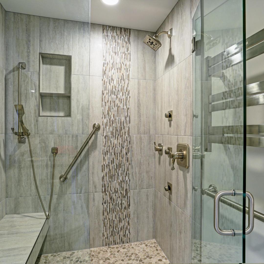 walk-in shower part of bathroom remodel