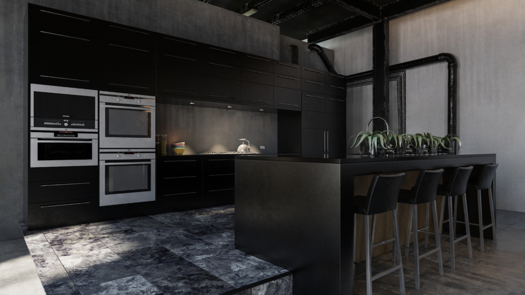 custom kitchen with dark cabinet, dark tile and dark paint