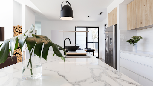 Marble countertop in custom kitchen