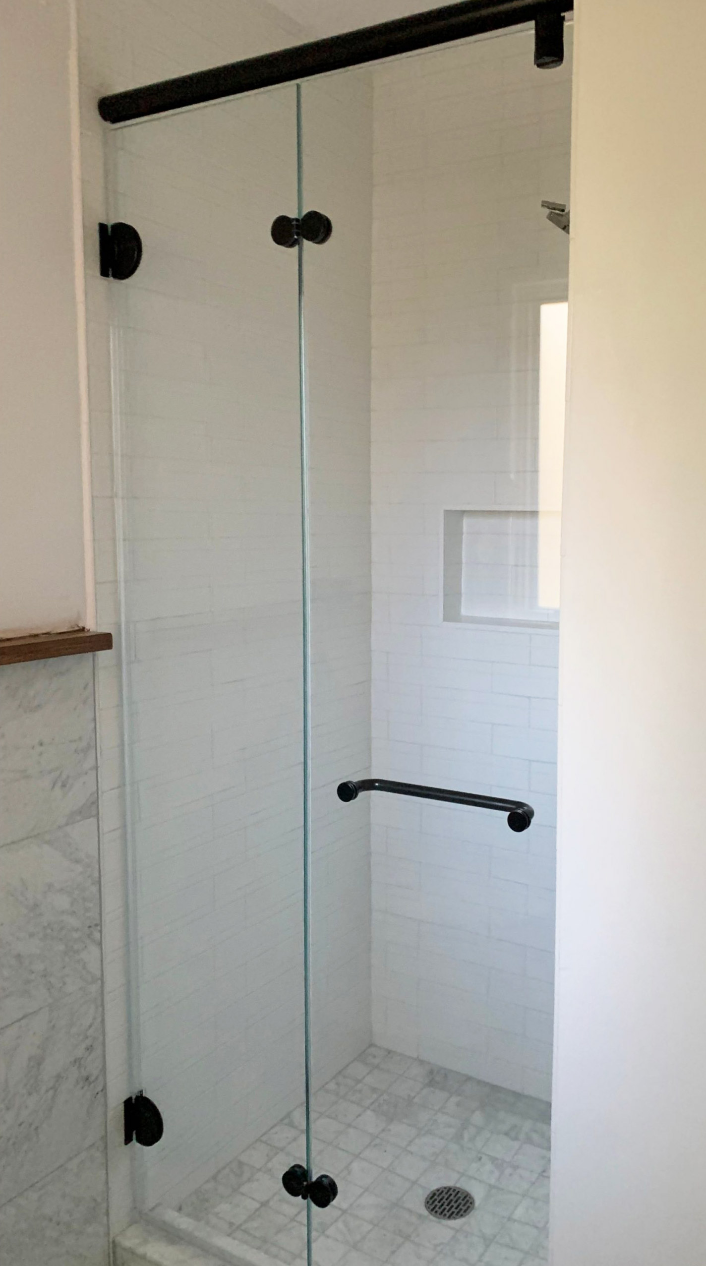 Shower Enclosure with Matte Black Powder Coating