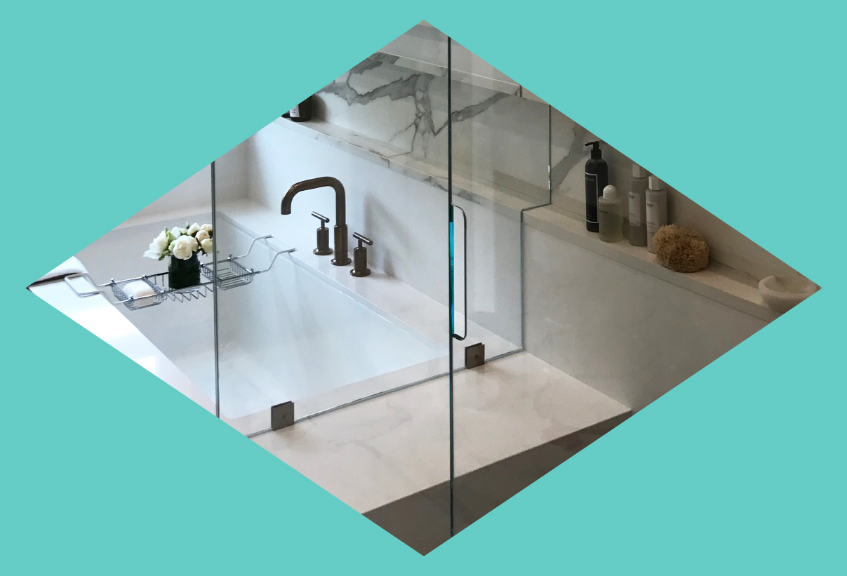 Hardware free hand pull for folding shower enclosure