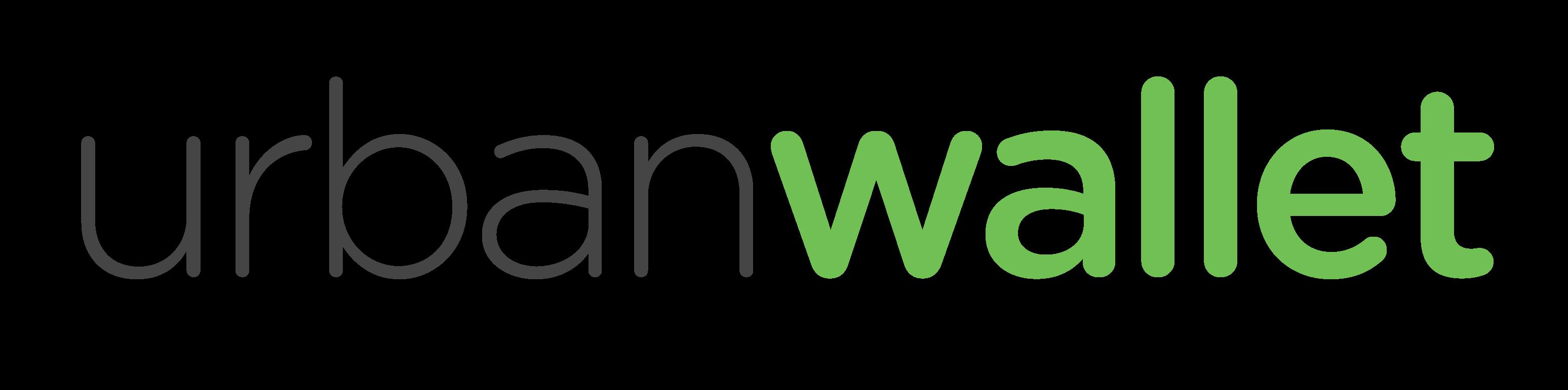 urban wallet logo, grey and green, transparent background