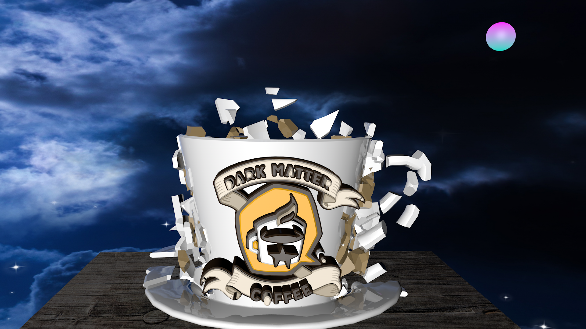 Screen capture of the 3D Dark Matter Coffee Logo exploding through a coffee cup.
