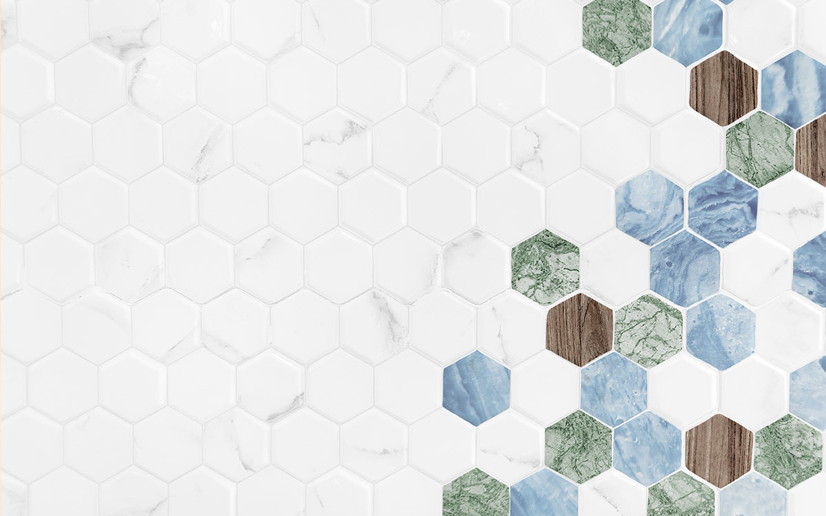 Global Stone, Douglas Jones, hexagonal mosaic with wood and marble finish.