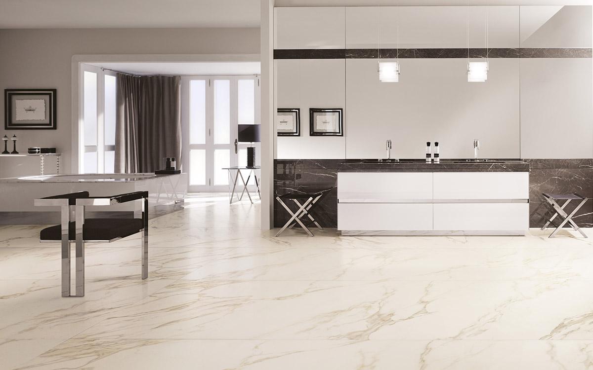 Nero Marquena marble, Statuario, Bianco Rosso.