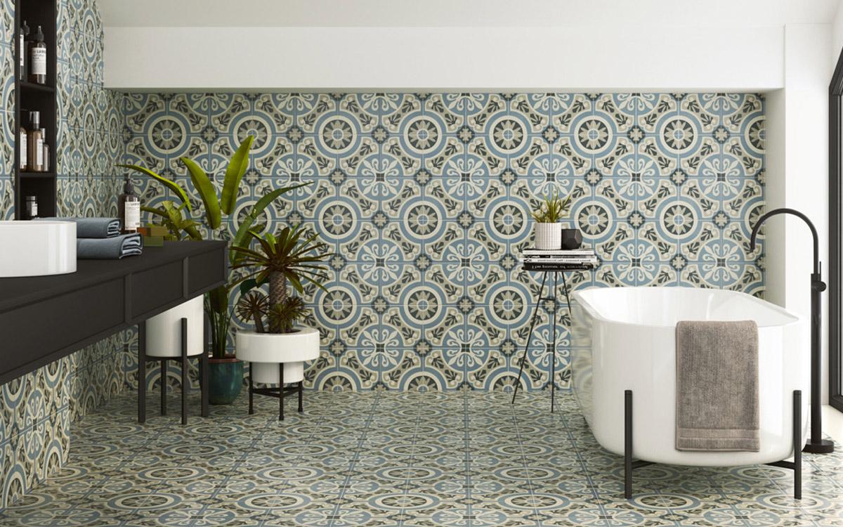 Decobella décor tile, freestanding bath, floating wall hung vanity cabinet.