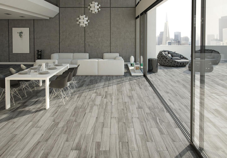 Ash grey wood floor tile, internal & external, large glass panels, modern furniture.