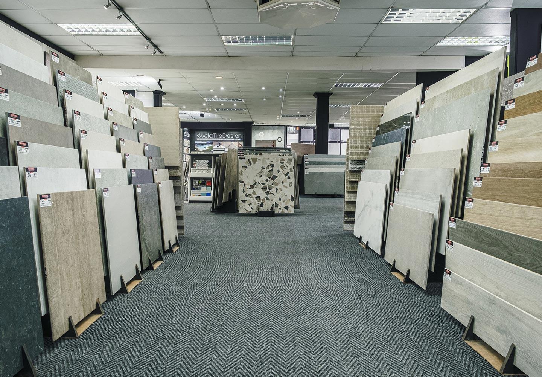 Tiletopia showroom, tile display racks, small to large format tiles, Kwela Tile Design, Douglas Jones mosaics.