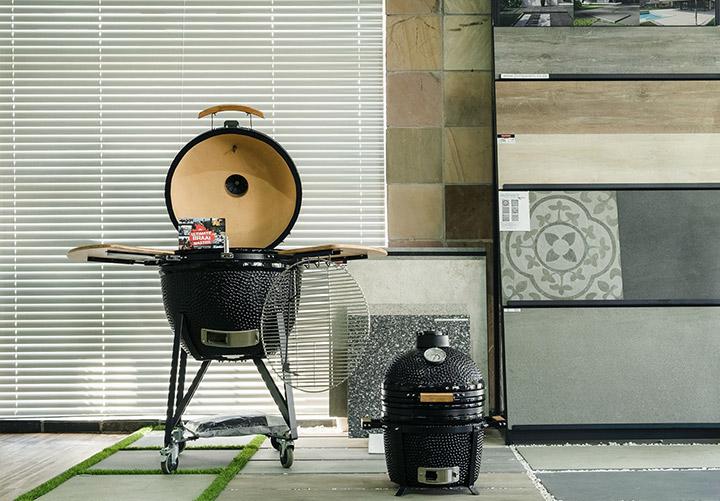 Kamado Jan Large & Small, Ceramic cooker and braai, Bamboo panels, 2cm Pavers, Easy grass.