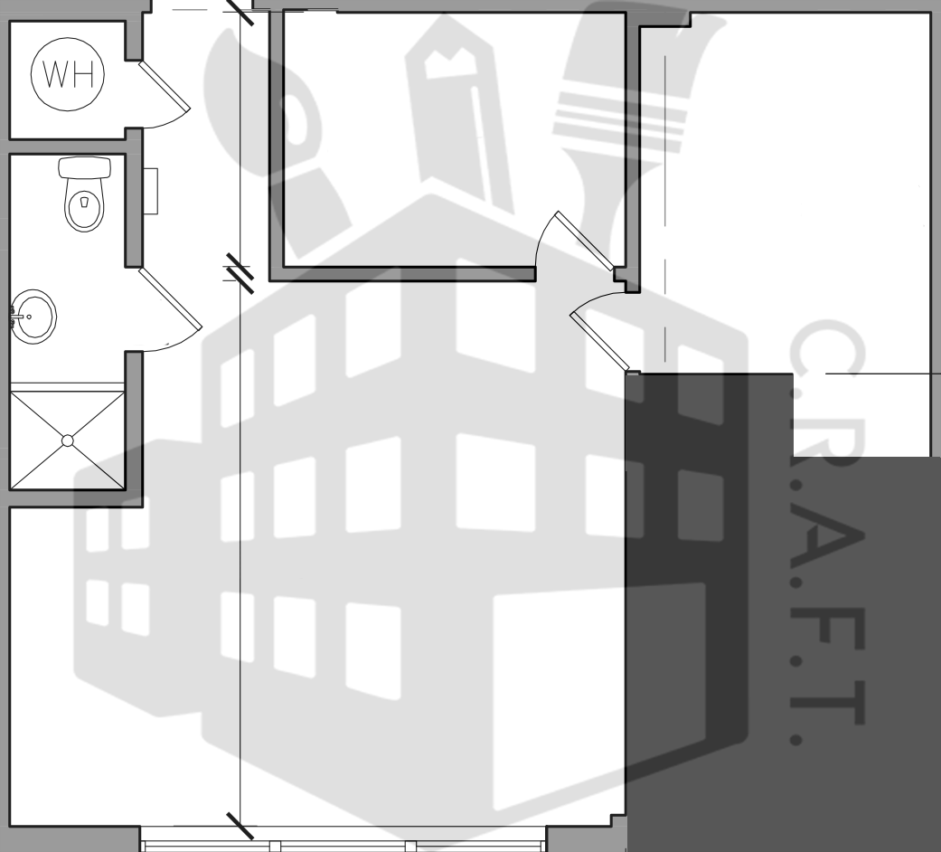 C.R.A.F.T. Building Logo over architectural drawings.