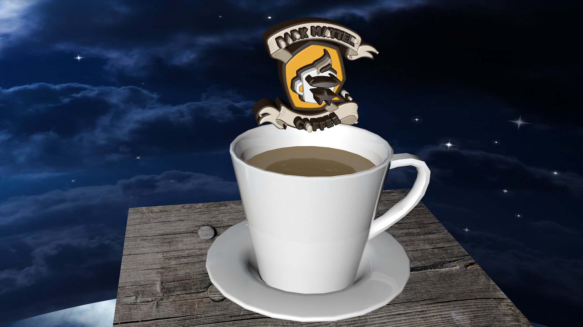 A snapshot of the 3D logo of Dark Matter Coffee being dunked in a cup of coffee.