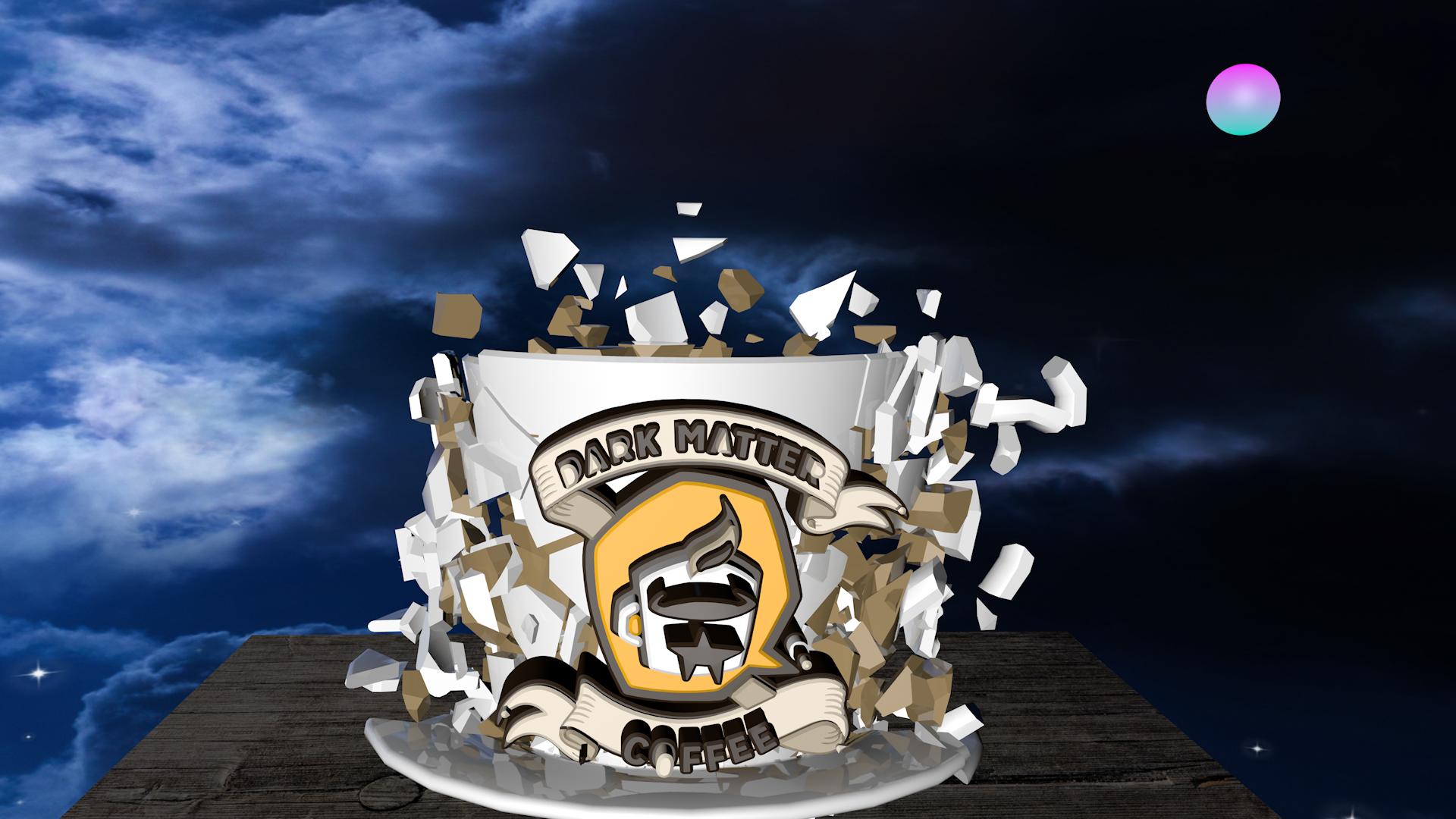 Dark Matter Logo Smashes Coffee Cup