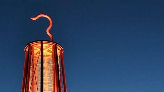 Ein Bild eines Leuchtturms der Stadt Moers.