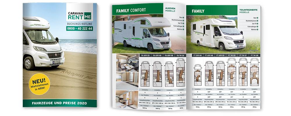 Bild vom Preisflyer der Wohnmobile von Caravan-rent.me