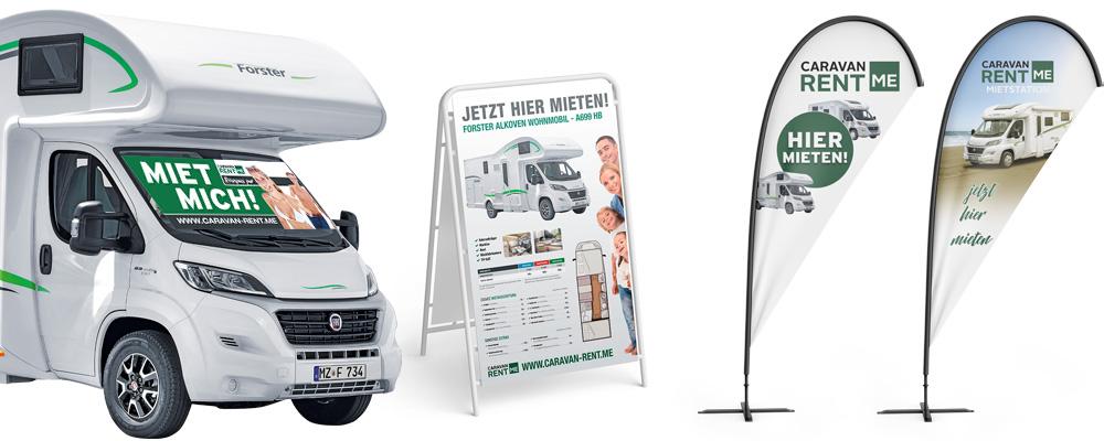 Bild von einem Wohnmobil und Werbematerial von Caravan-rent.me
