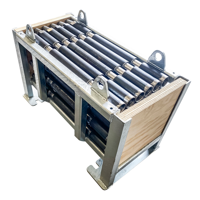 Steel rod container