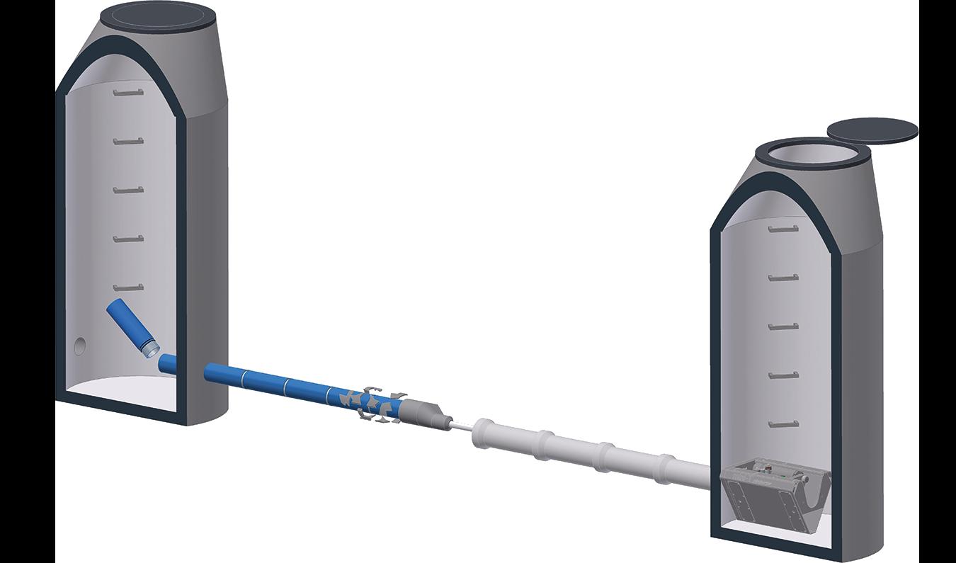 Micro pipebursting shown in 3D