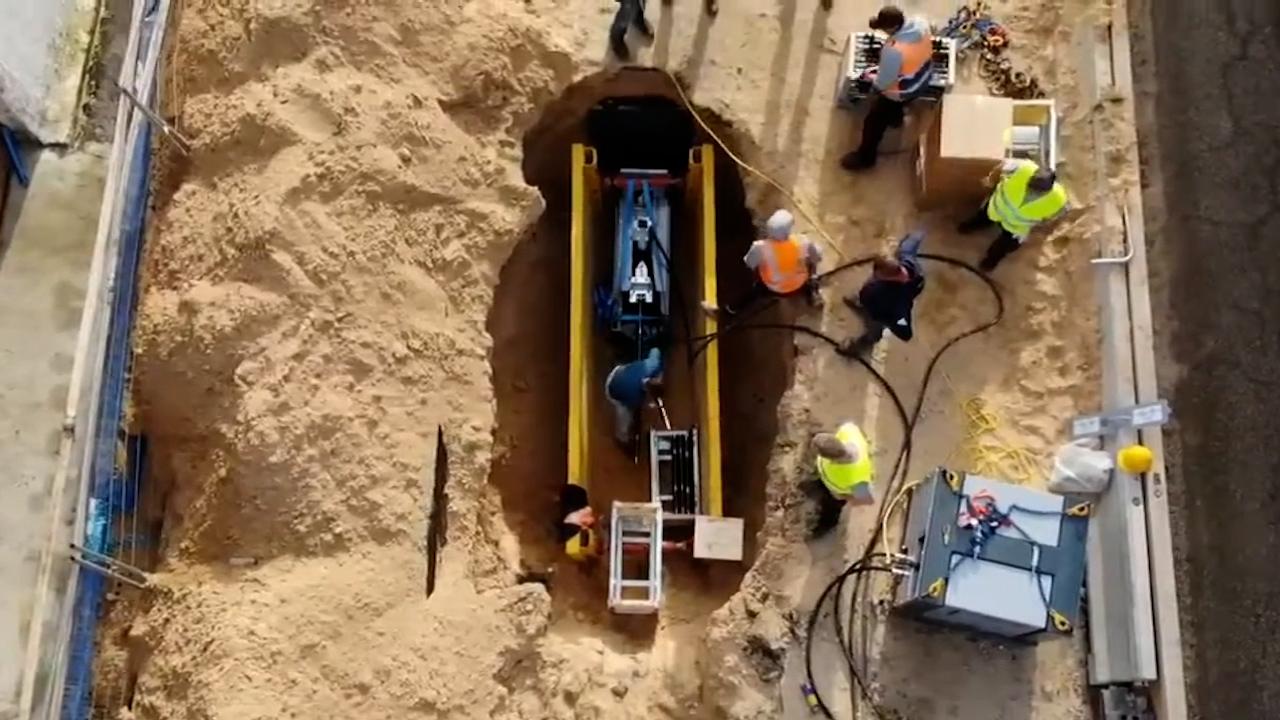 Sewer pipe replacement in Tel Aviv, Israel