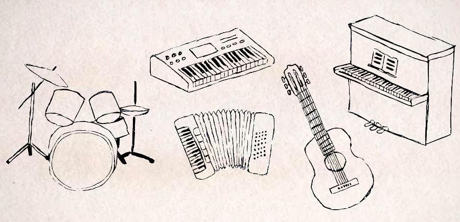 Illustration von verschiedenen Instrumenten