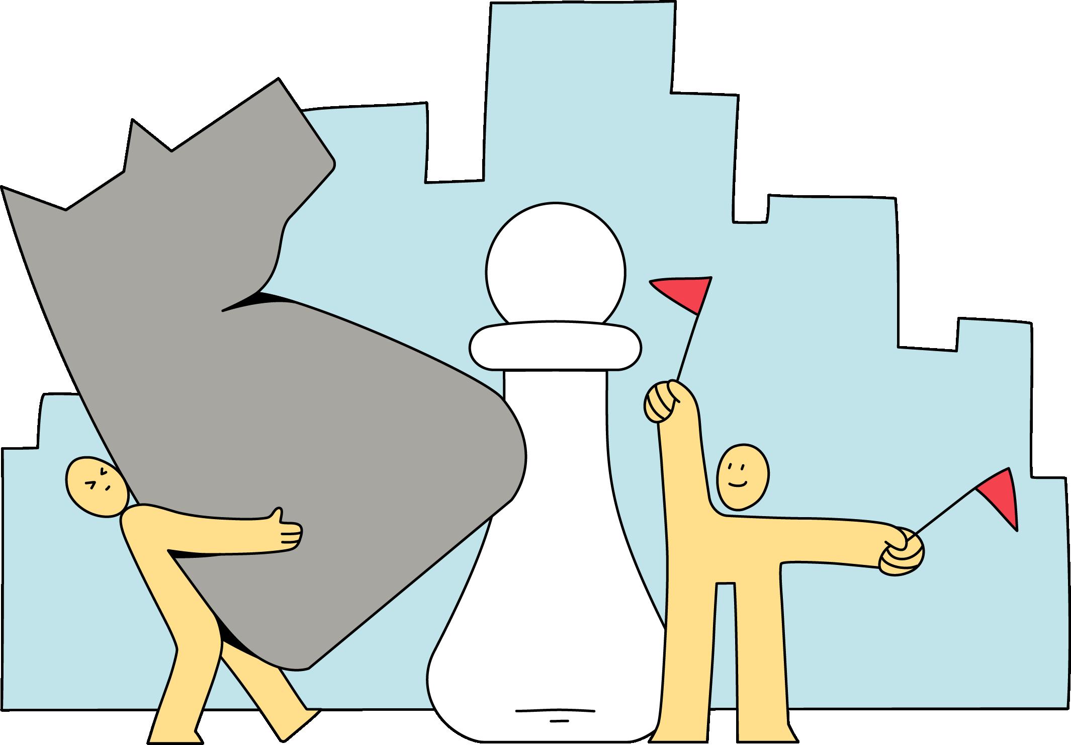 Ilustracion de dos personajes jugando al ajedrez
