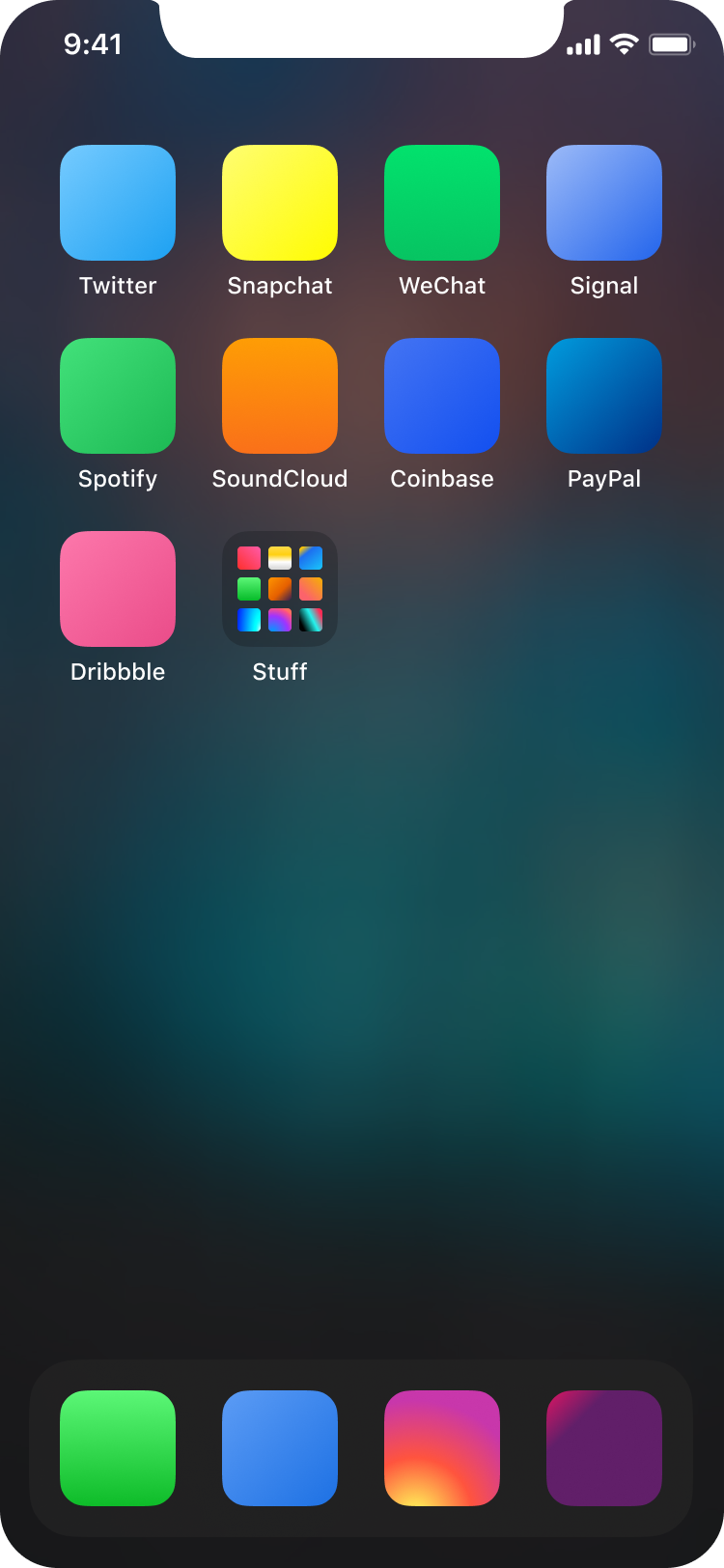 Example home screen