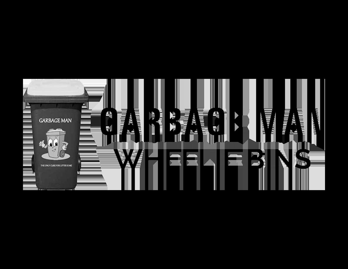 Garbage man wheelie bins logo