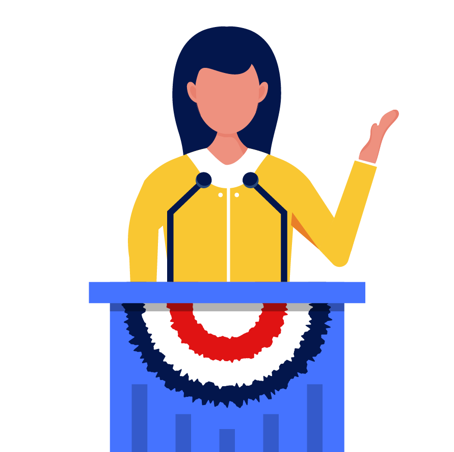 A cartoon of a woman in front of a podium