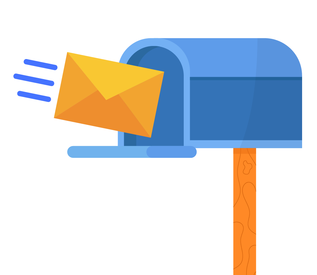 A graphic of an envelope entering a mailbox