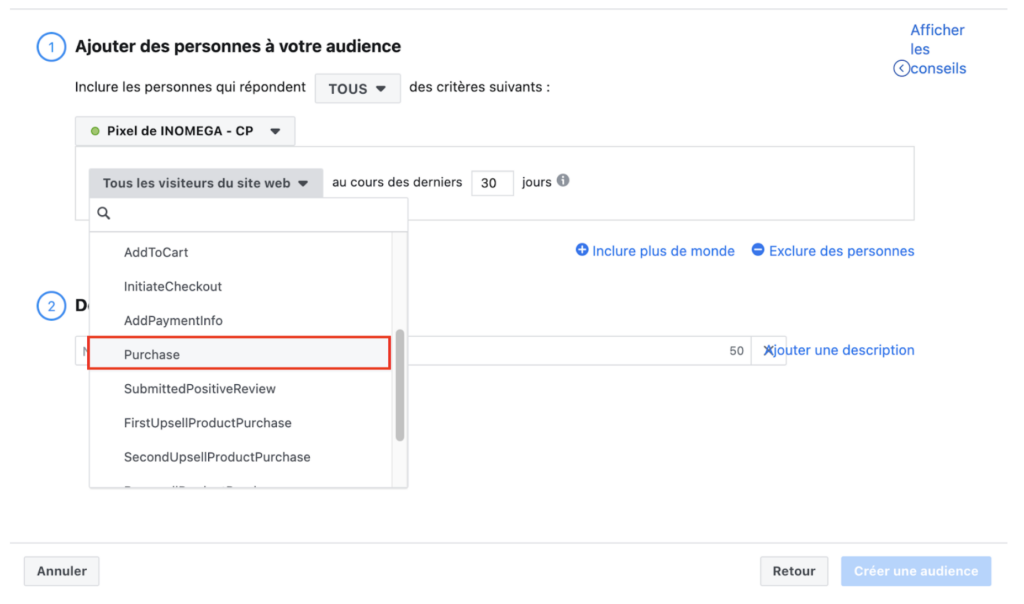 création audience purchase facebook ads
