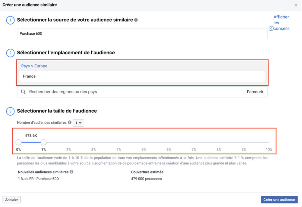 création audience similaire facebook ads
