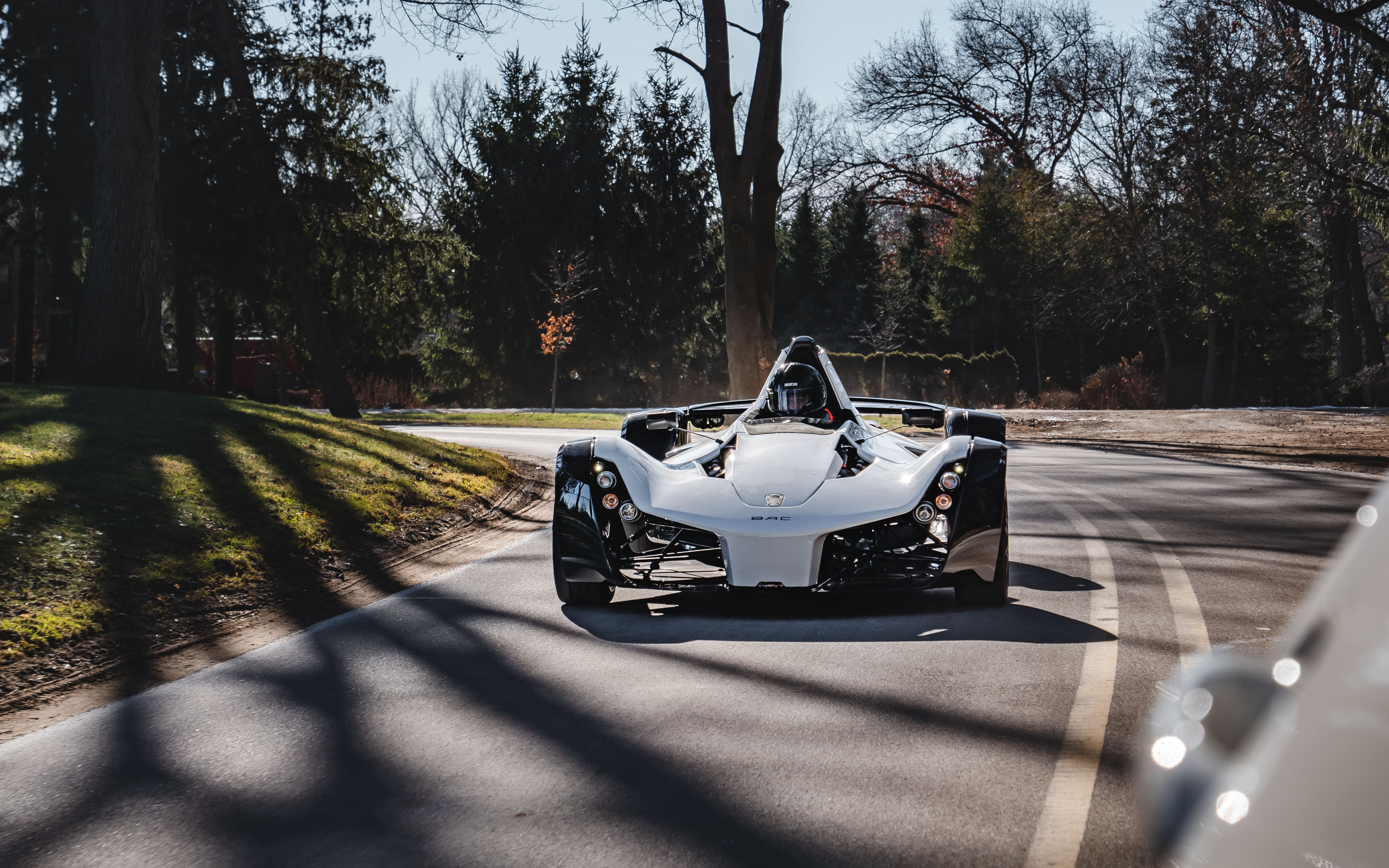 The road-legal BAC Mono on a backroad in Michigan