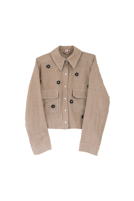 the branda jacket - brown / glass pearls