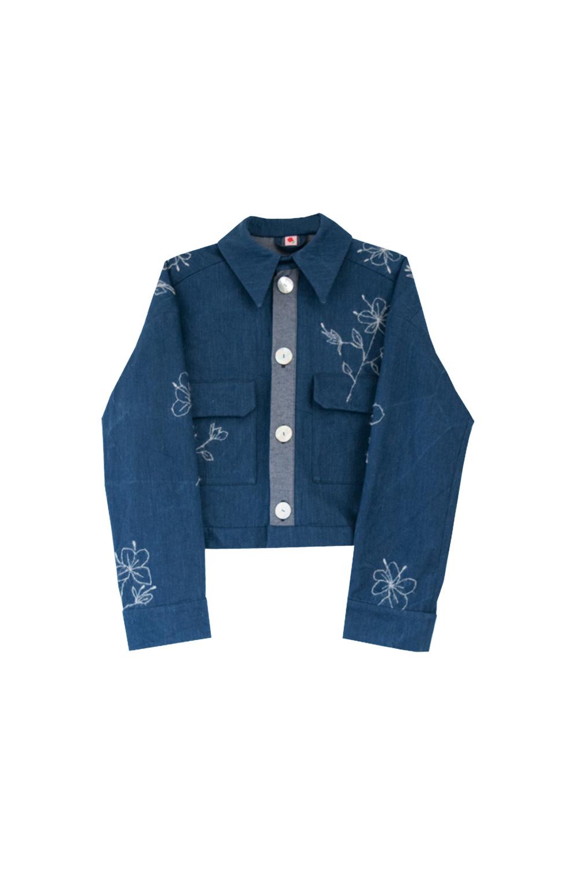the branda jacket - blue denim / embroidery