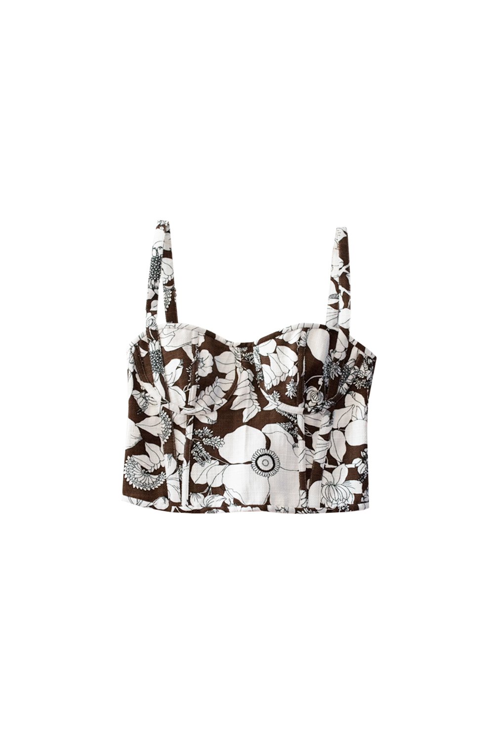 The Erin Top - brown / white floral