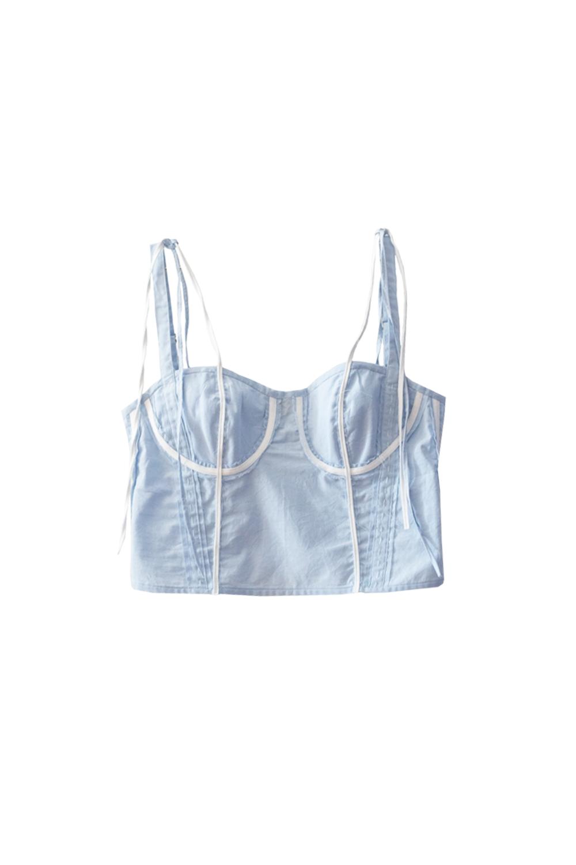 The Erin Top - soft blue / white - raw seam