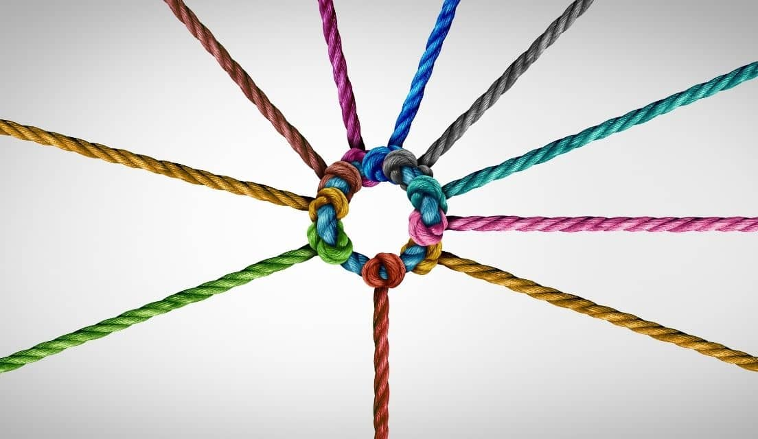 Colorful strings are combined at the centre like spokes on a wheel