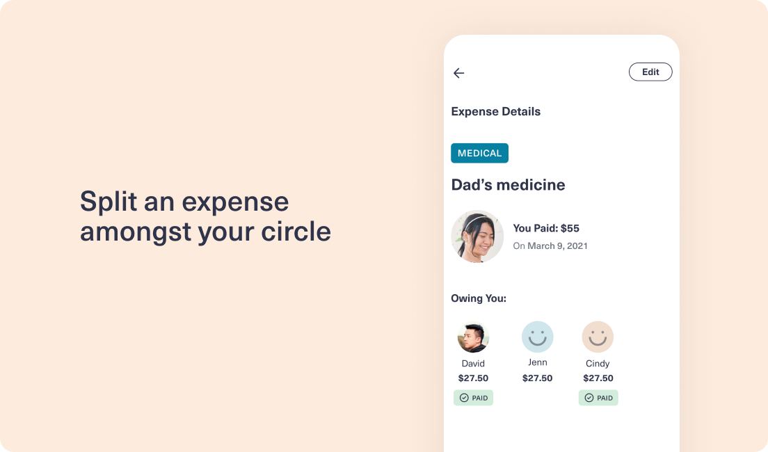 Image of Expense feature within CareEasy app
