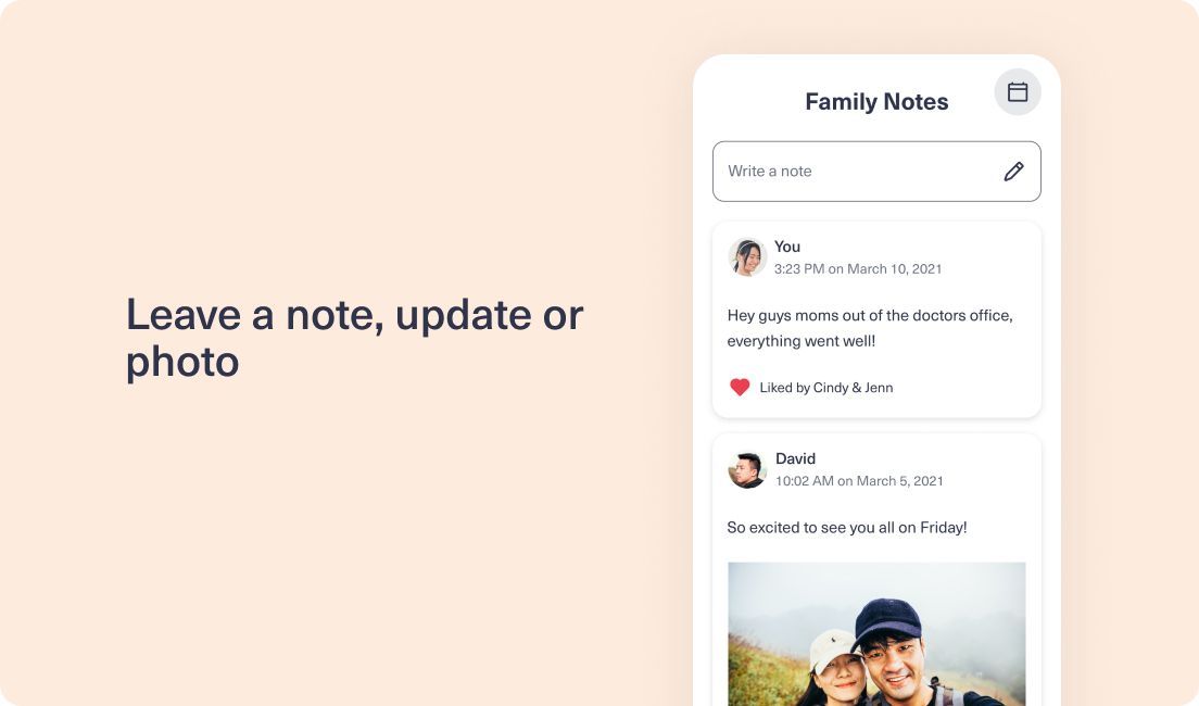 Image of Family Notes feature within CareEasy app