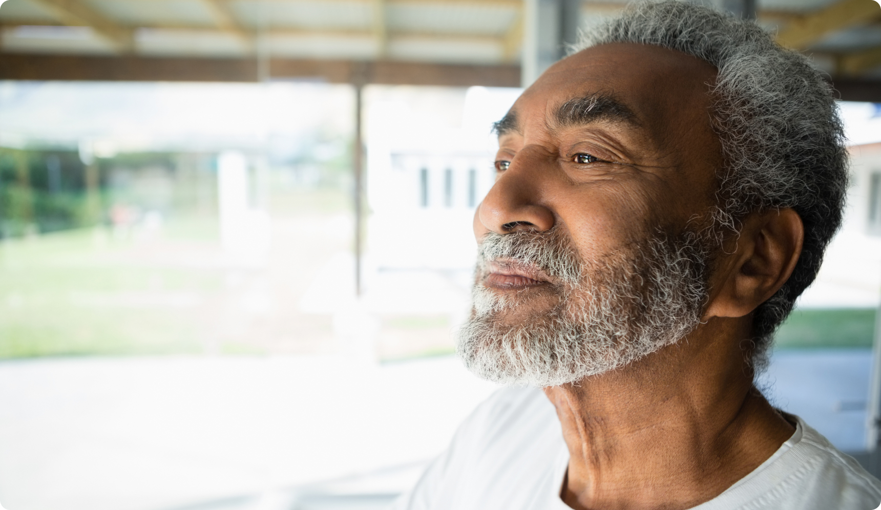Senior African American man looking out