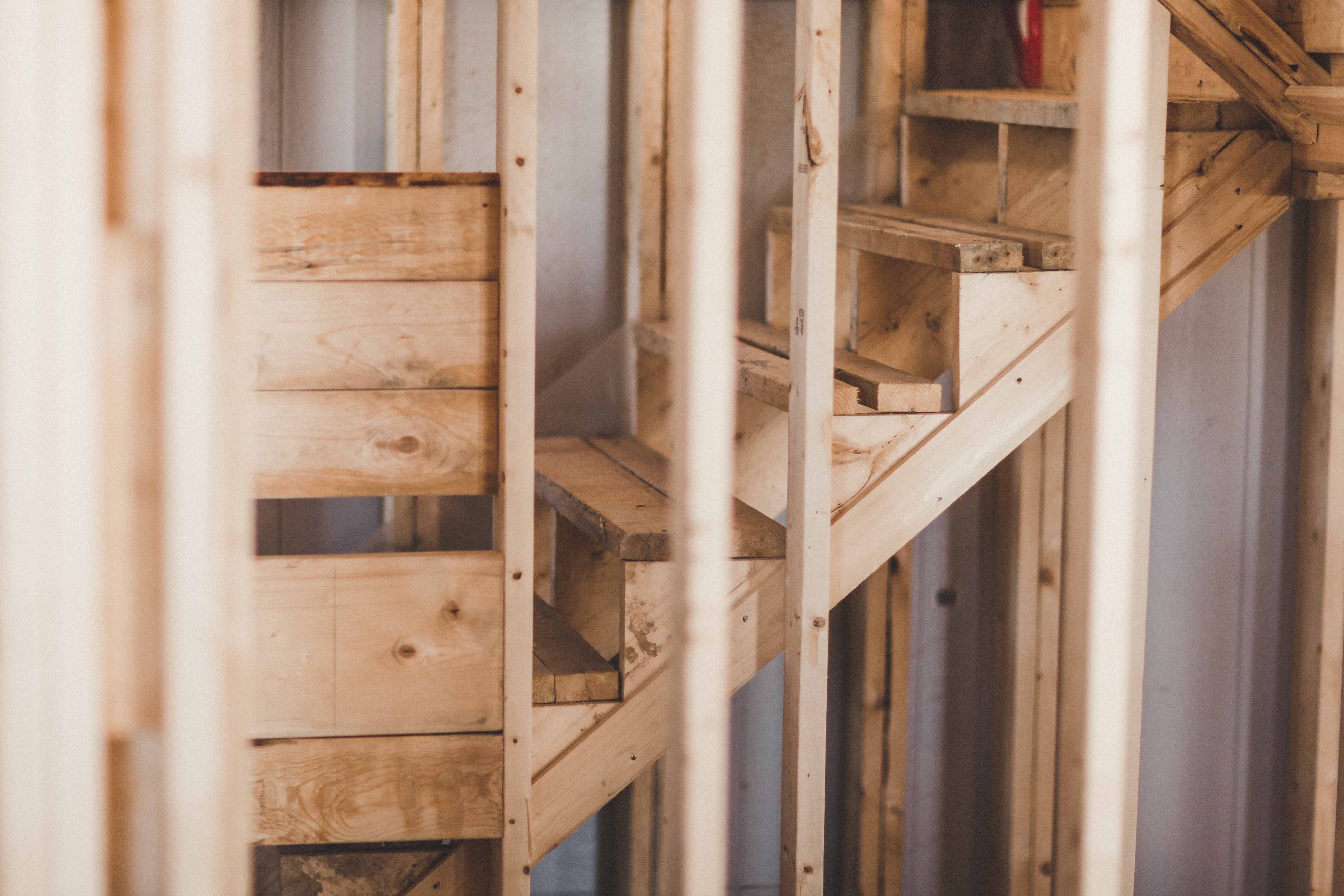 Wooden frame of staircase