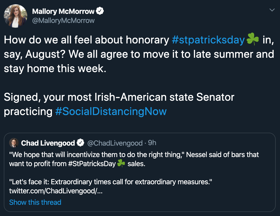 State Sen. Mallory McMorrow tweet about St Partick's Day